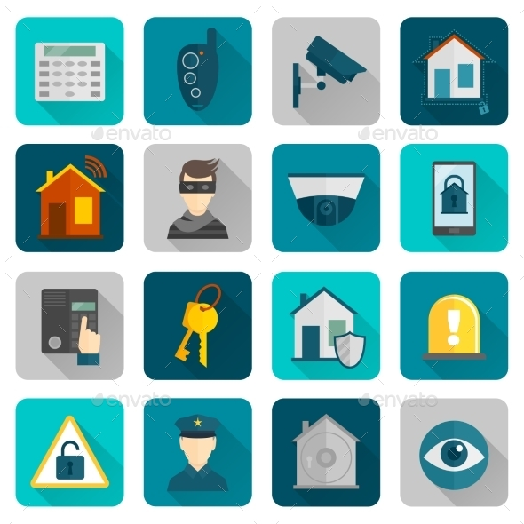 GraphicRiver Home Security Icons Flat 9680438