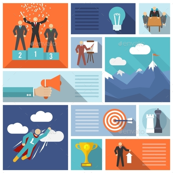 GraphicRiver Leadership Icons Flat Set 9680450
