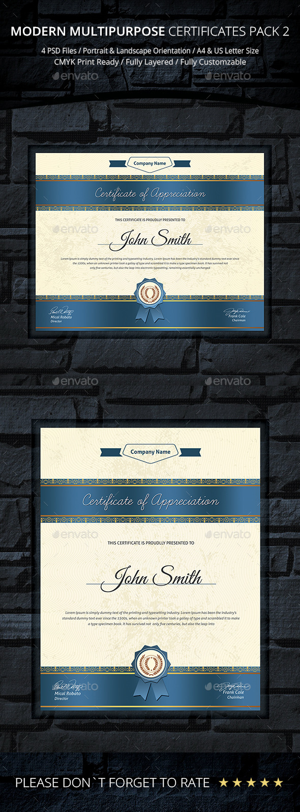 GraphicRiver Modern Multipurpose Certificates Pack 2 9598021