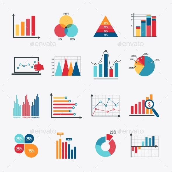 GraphicRiver Business Chart Icons Set Flat 9680734