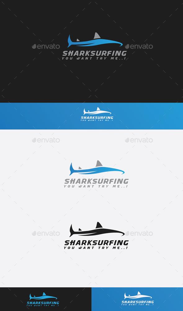 GraphicRiver Shark Surfing Logo 9680854