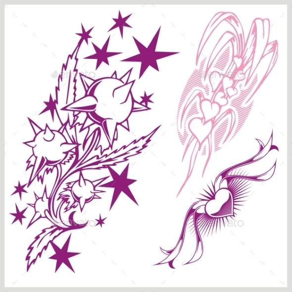 GraphicRiver Flower Design for Tattoo 9680880