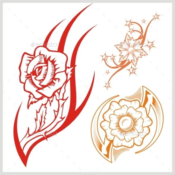 GraphicRiver Flower Design for Tattoo 9680885