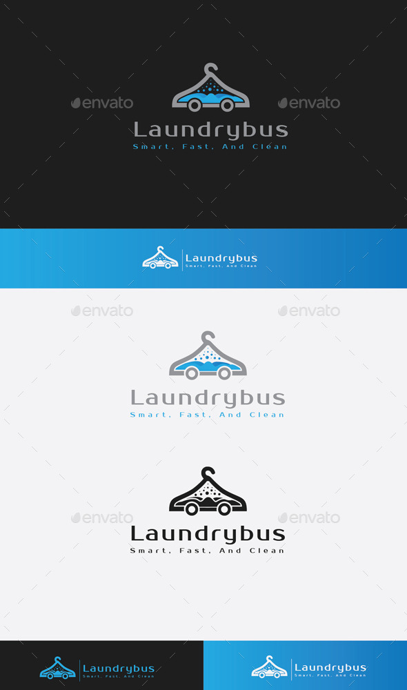 GraphicRiver Laundry Bus Logo 9680888