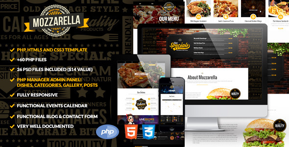 ThemeForest Mozzarella PHP & HTML Cafe Bar Template 9681046