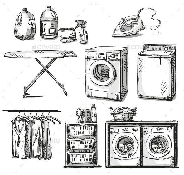 GraphicRiver Laundry Objects 9682315
