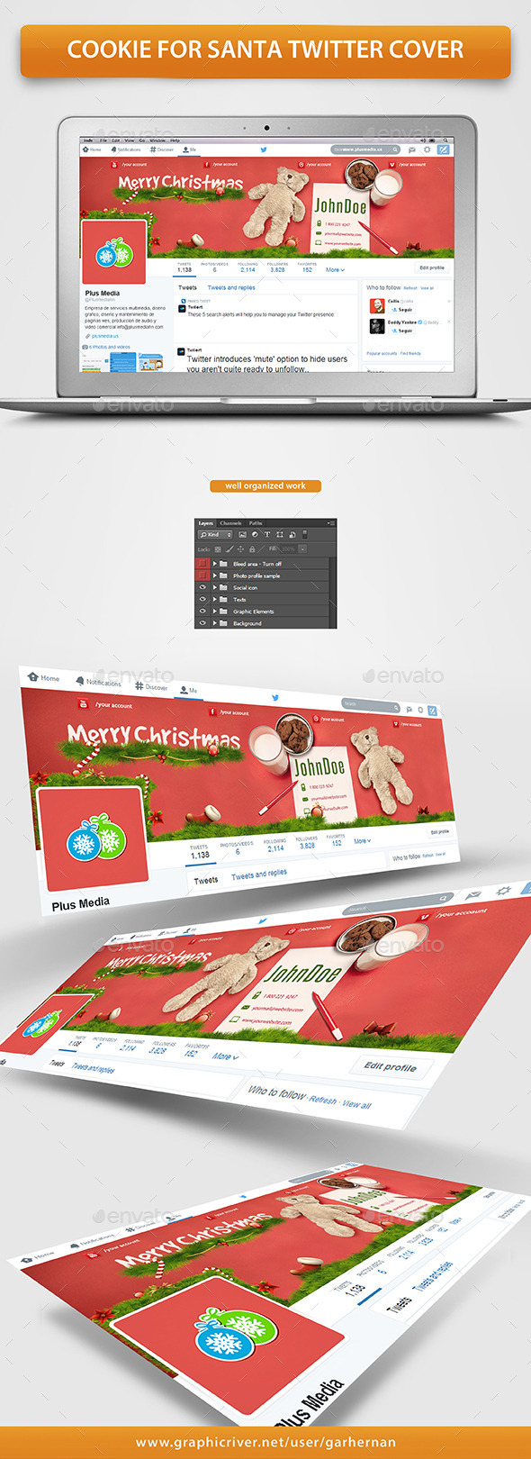 GraphicRiver Cookie For Santa Twitter Cover 9682518
