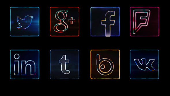 VideoHive Social Media Icons Dark Neon 9682627