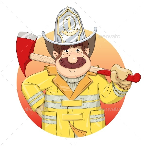 GraphicRiver Fireman in Uniform with Ax 9682754