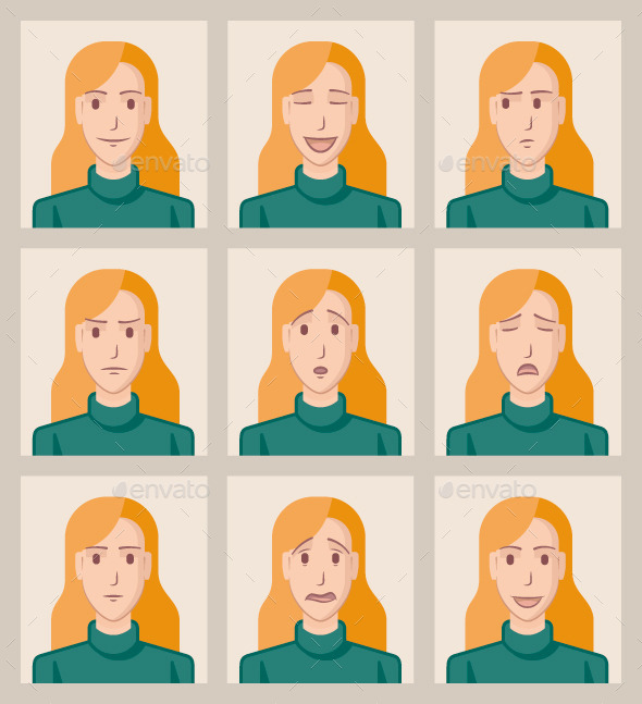 GraphicRiver Facial Expressions of a Young Woman 9655746