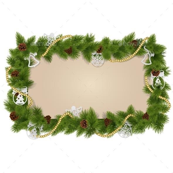 GraphicRiver Fir Frame with Decorations 9682796