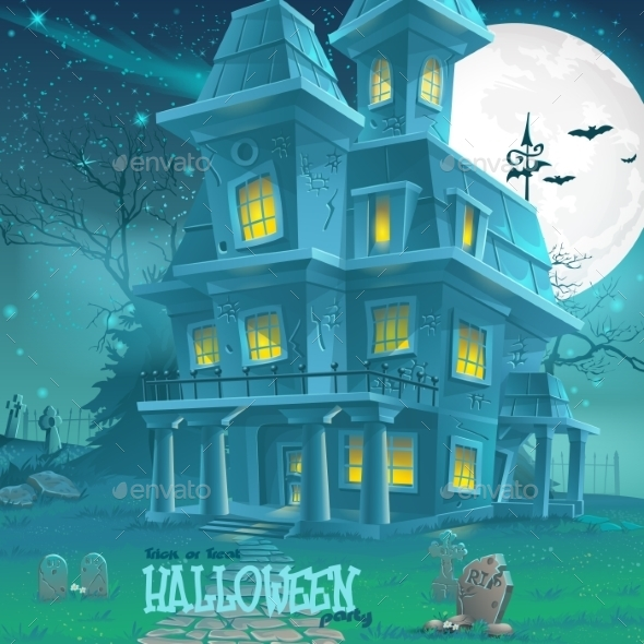 GraphicRiver Haunted House Illustration 9682867