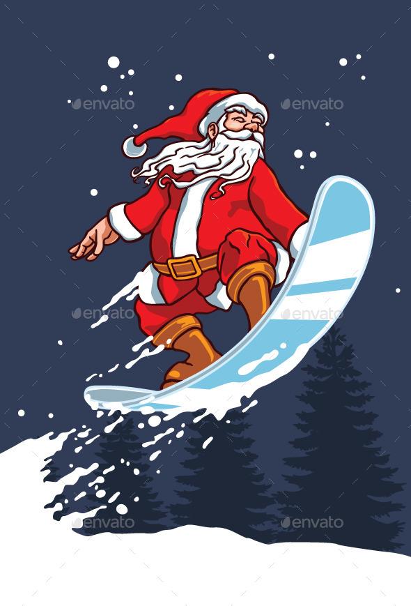 Snowboarder Santa