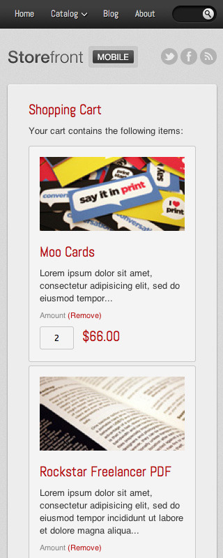 Storefront Mobile — Mobile HTML Shop Template - Shopping cart completely optimized for small touch screen devices.
