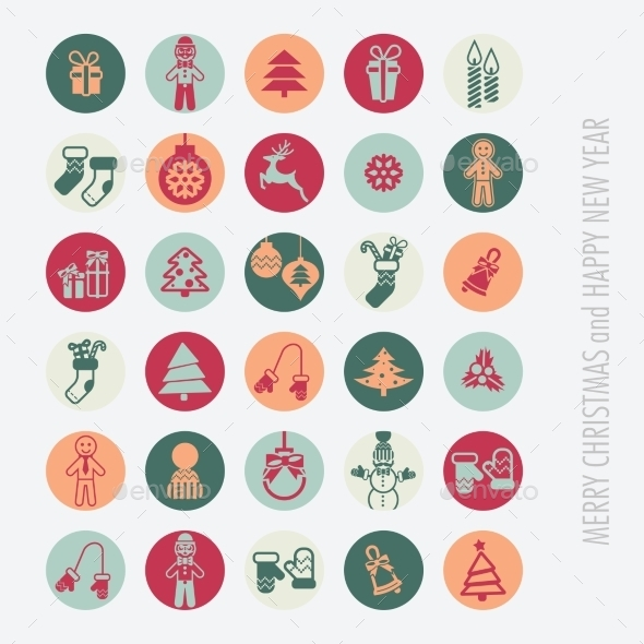 GraphicRiver Christmas Icons Set 9683165