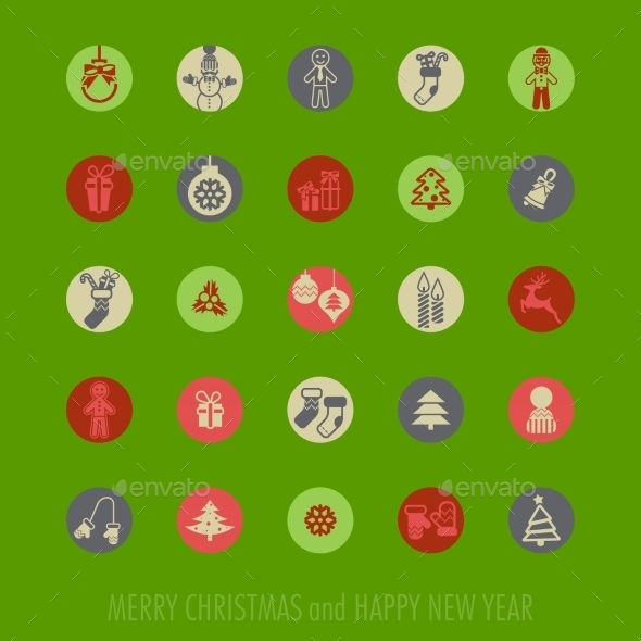 GraphicRiver Christmas Icons Set 9683171