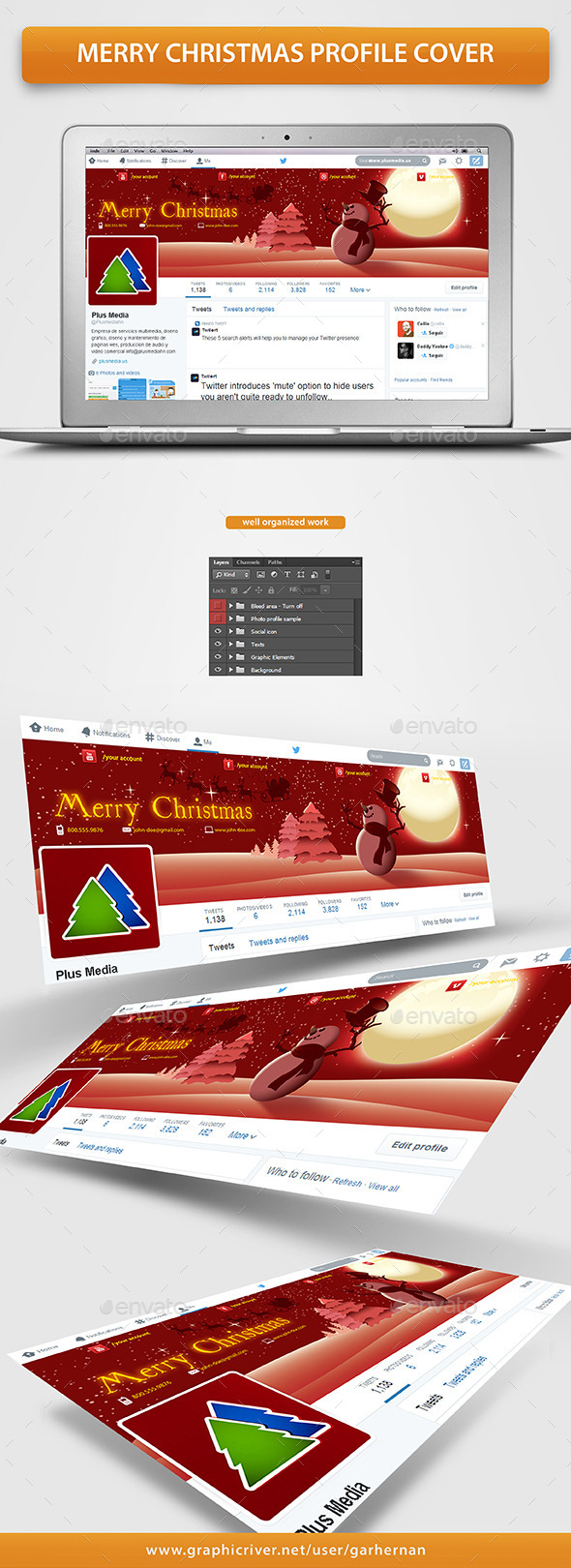 GraphicRiver Merry Christmas Profile Cover 9683302
