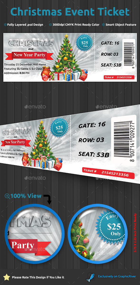 GraphicRiver Christmas Event Ticket 9683328