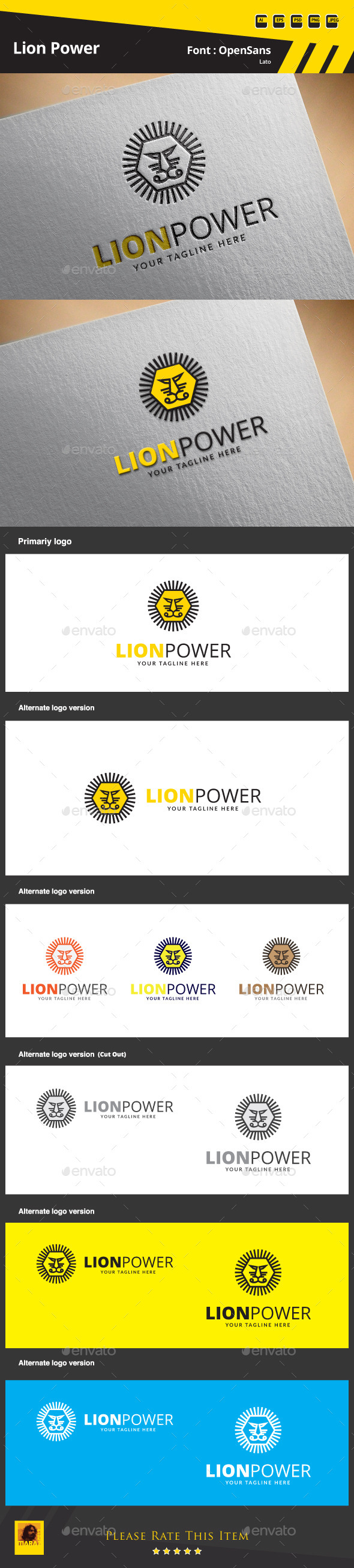 GraphicRiver Lion Power Logo Template 9683487