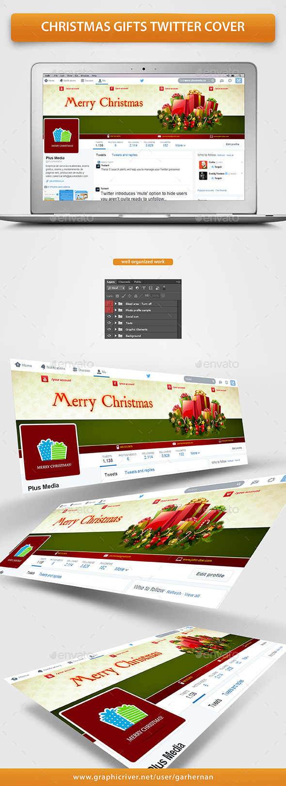 GraphicRiver Christmas Gifts Twitter Cover 9683621