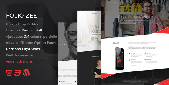 ThemeForest Folio Zee One page Multi Purpose WP Theme 9683623
