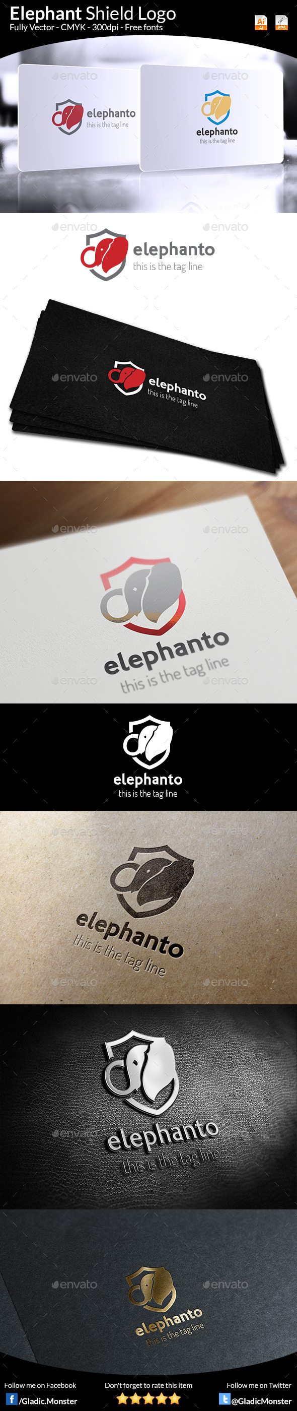 GraphicRiver Elephant Shield Logo 9683640