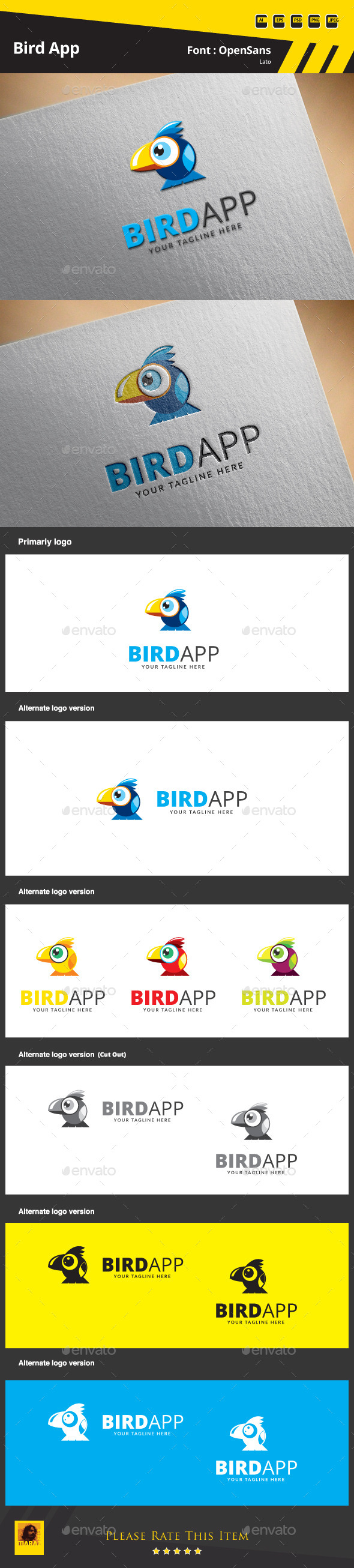 GraphicRiver Bird App Logo Template 9683679