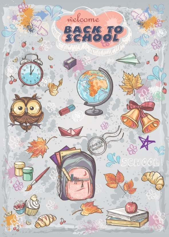 GraphicRiver Autumn and School Elements 9684151