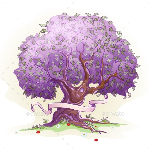 GraphicRiver Purple Tree with Ribbon 9684271