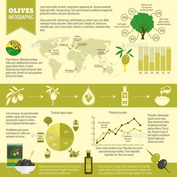 GraphicRiver Olives Infographics Set 9684311