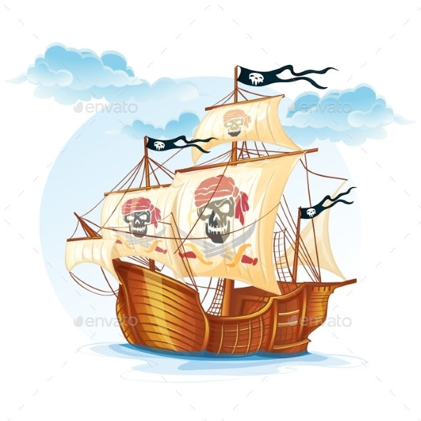 pirate ship sail template - pirate ship drawing outline stock