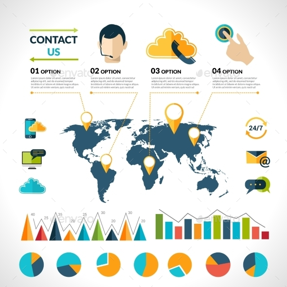 GraphicRiver Contact Us Infographics Set 9684414
