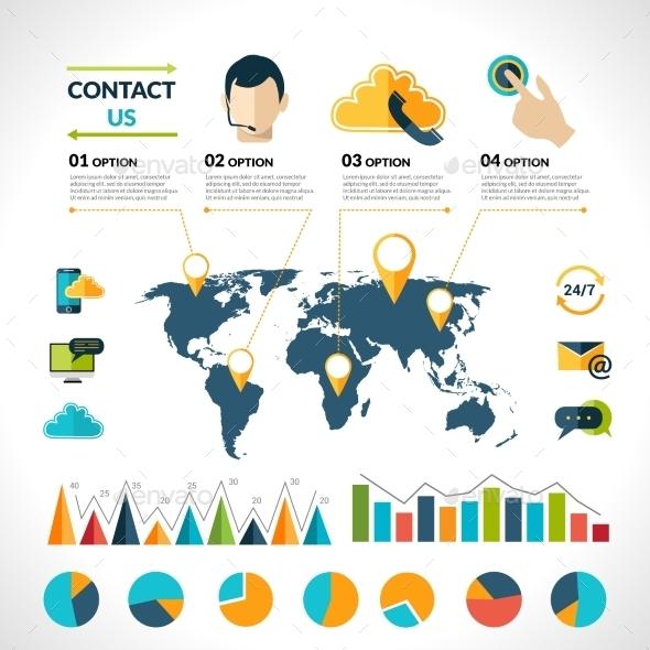 GraphicRiver Contact Us Infographics Set 9684414
