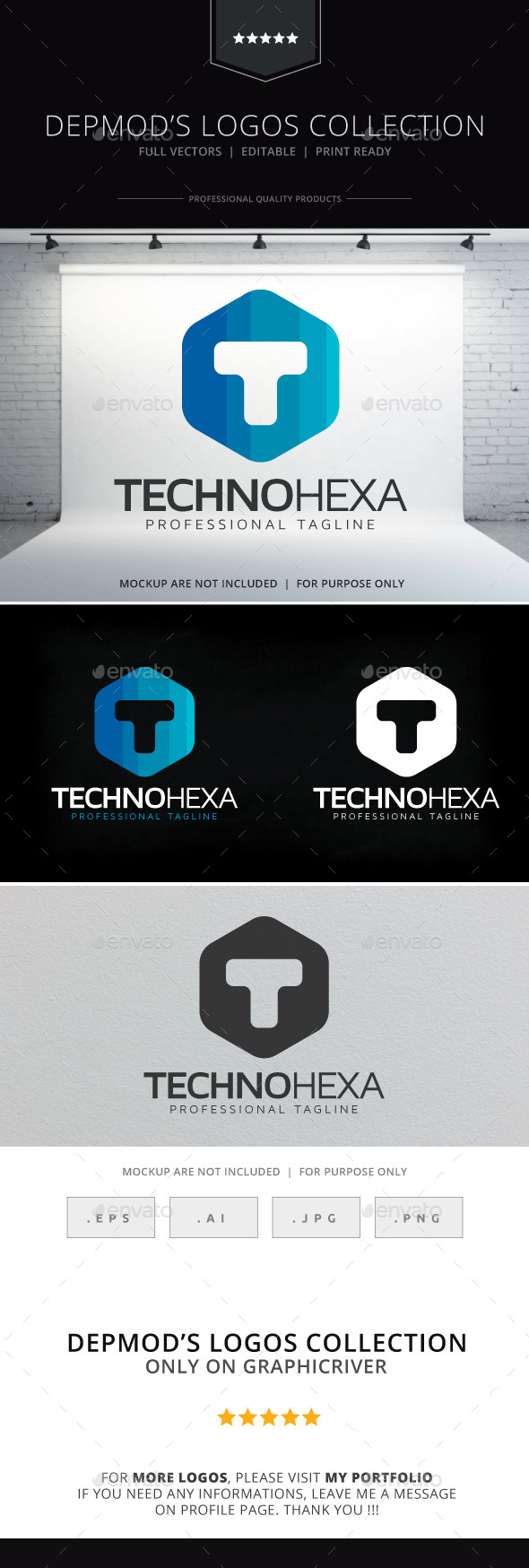 GraphicRiver Techno Hexa Logo 9684475