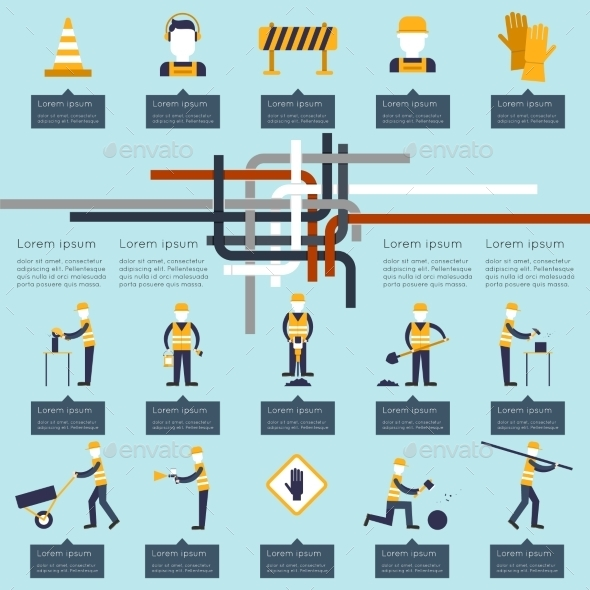GraphicRiver Road Worker Infographic 9684571