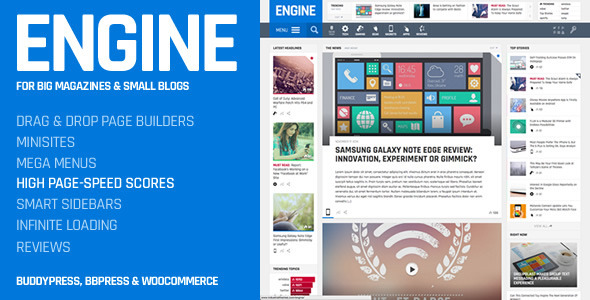 Engine - Drag and Drop News Magazine w/ Minisites - Blog / Magazine WordPress