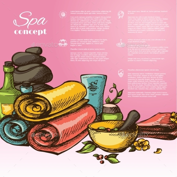 GraphicRiver Spa Sketch Background 9685057