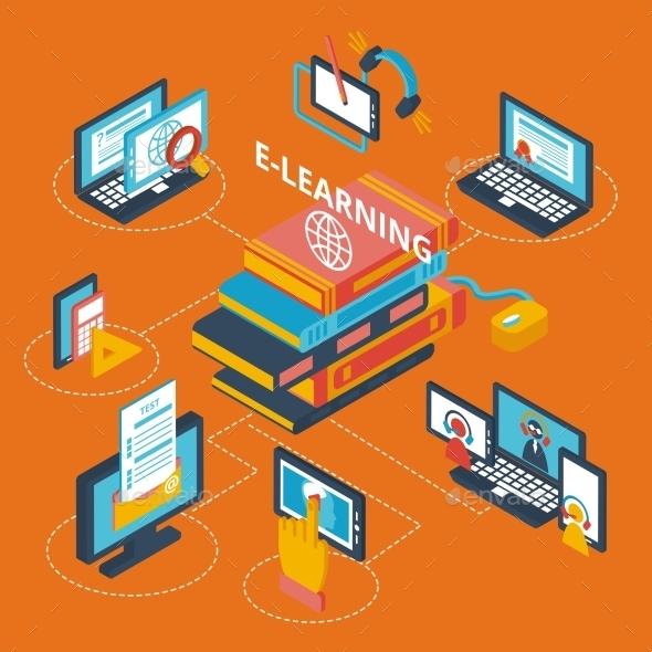 GraphicRiver E-learning Icons Isometric 9685300
