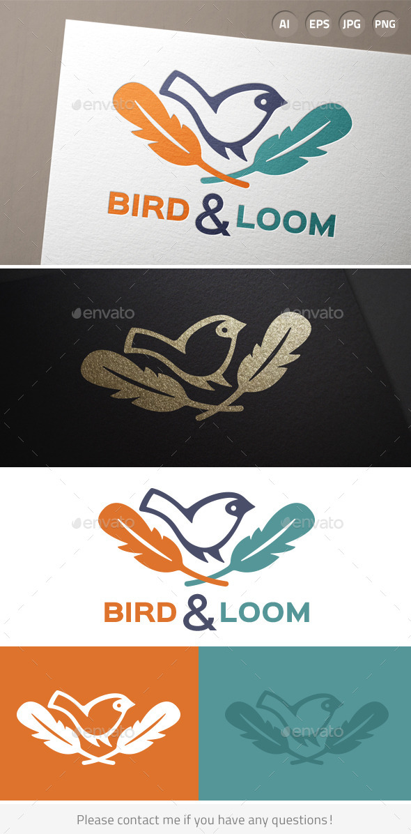 GraphicRiver Bird Feather Hipster Logo 9685304