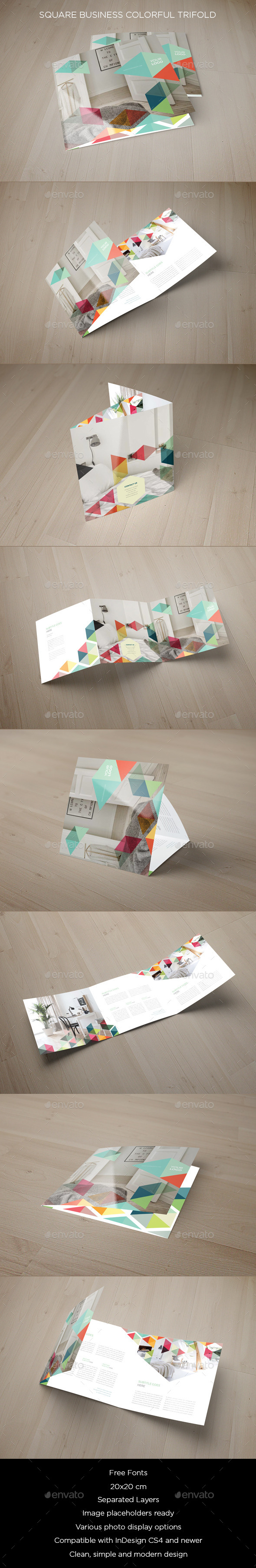 Square Business Colorful Trifold