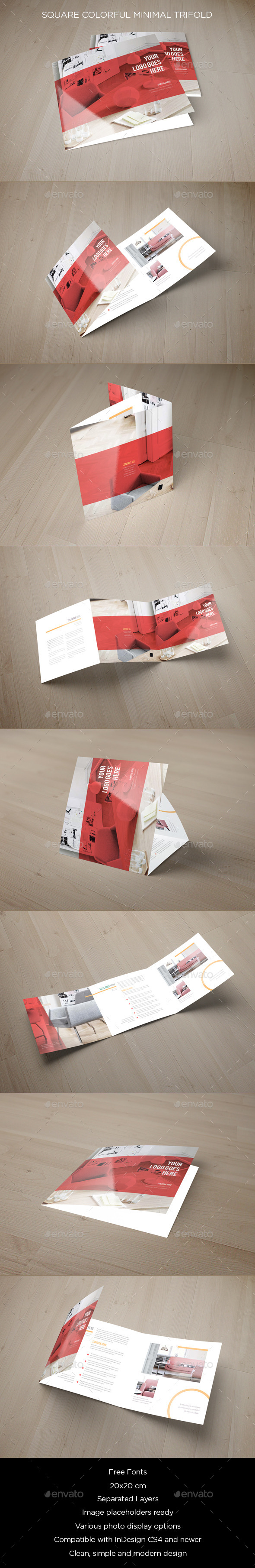 Square Colorful Minimal Trifold