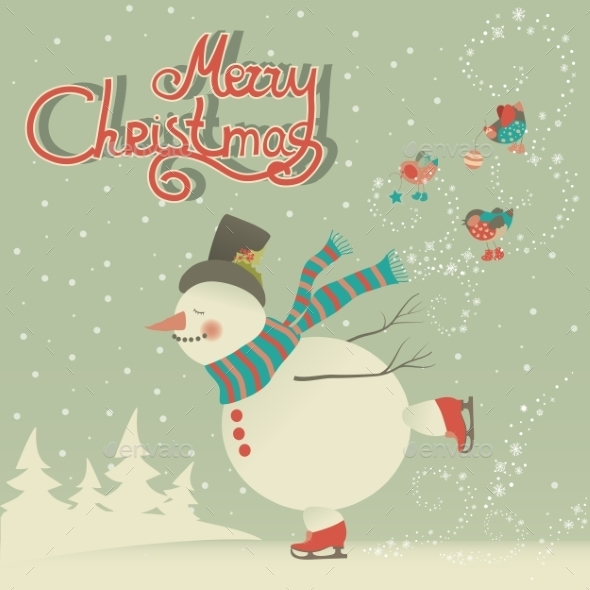 GraphicRiver Ice Skating Cartoon Snowman 9686119
