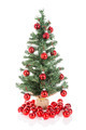 Christmas tree decorated with red balls isolated at white - PhotoDune Item for Sale