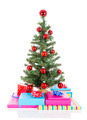 Christmas tree with red balls and gifts isolated at white - PhotoDune Item for Sale