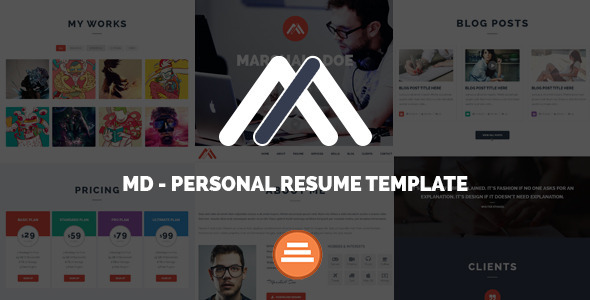 MD Responsive Personal Resume & Portfolio Template