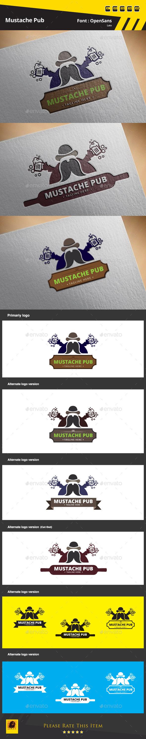 GraphicRiver Mustache Pub Logo Template 9686675