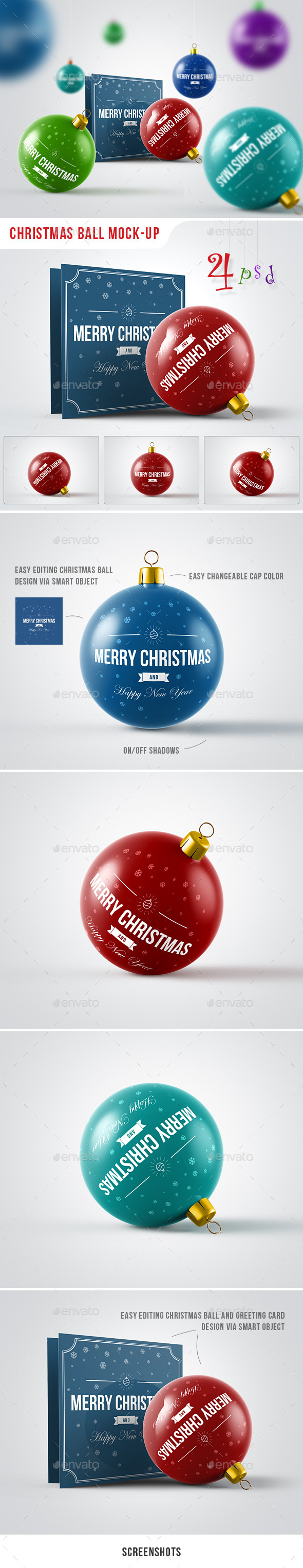 GraphicRiver Christmas Ball Mock-Up 9686694