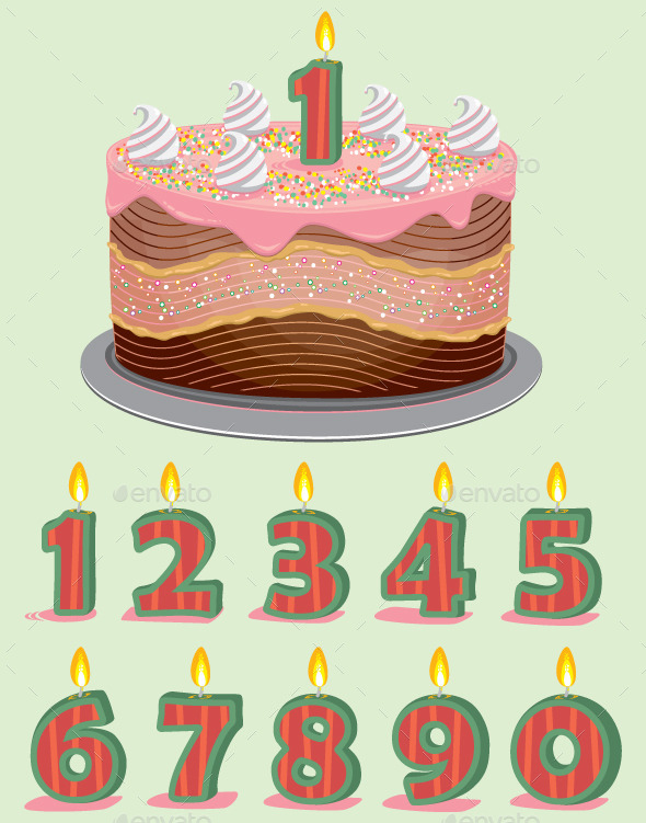 GraphicRiver Birthday Cake with Candles 9686731
