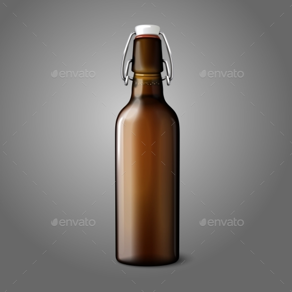 GraphicRiver Blank Brown Retro Beer Bottle 9686824