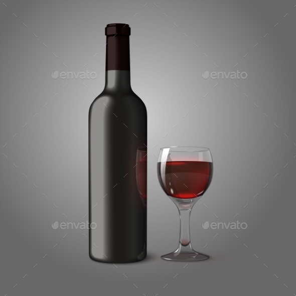 Blank Bottle for Red Wine with Glass